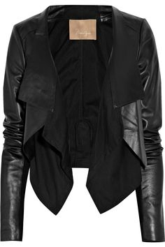 Cotton-paneled leather jacket by Max Azria.