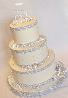 A little much with all the diamonds, but I like how it looks with the rhinestone bands on top and bottom of each tier.