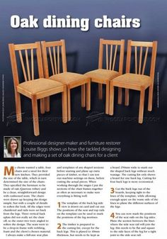 #2309 Oak Dining Chair Plans - Furniture Plans