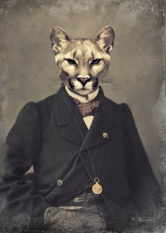 ", Cougar Mountain Lion, Victorian Steampunk, Collage, Anthropomorphic, ""Chadwick"""