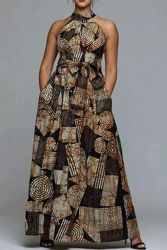 Shop VERWIN Floor Length Lace-Up High Waist Stand Collar Sleeveless Women's Maxi Dress Print Dress. African Print Dresses, African Print Fashion, African Fashion Dresses, Ethnic Fashion, African Dress, Dress Fashion, Fashion Outfits, Fashion Trends, African Attire