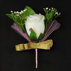 """Goes better with a """"favorite"""" bouquet..Wedding Flowers Satin / Cotton Free-form Men's Boutonniere"""