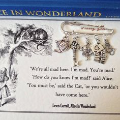 Literary Emporium Alice In Wonderland Brooch ($25) ❤ liked on Polyvore featuring jewelry, brooches, pin jewelry, charm jewelry and pin brooch