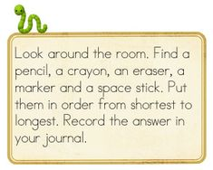 measuring- maths journal- could replace eraser with scissors, or glue stick?