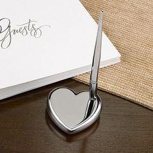 Personalized Solid Sturdy Silver Plated Heart Paperweight/Penbase with Silver Toned Pen for Wedding and Events(China (Mainland))