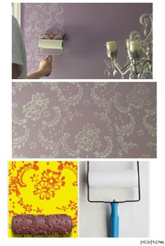 PAINT DIRECTLY ON YOUR WALL!  Patterned Paint Roller in Symphony Scrolls Design,  by Not Wallpaper Patterned Paint Rollers.