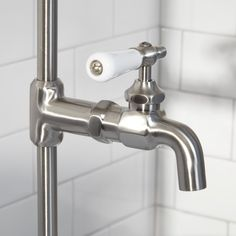 Wall Shower Set With Exposed Pipe Riser and Tub Filler - Bathroom