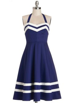 Georgia Gallivanting Dress. Whether youre art-hopping in Atlanta or skipping through Savannah, youre sure to feel peachy keen in this nautically inspired halter dress by Bea  Dot! #blue #modcloth