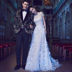 2016 Angelababy Vestido De Noiva Romantic Wedding Dresses White Lace Appliques O-Neck A-Line Lace Up Wedding Gowns Bridal Dress