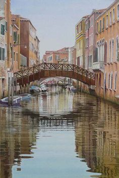 """""""Un canal au Cannaregio"""" By Thierry Duval, from Paris (b. 53 x 35 cm; x in - Private Collection Watercolor Architecture, Architecture Design, Art Aquarelle, Watercolor Paintings, Andrew Wyeth, Arno, Italy Country, High Art, Nose Art"""