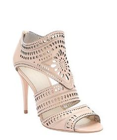 Aerin light peach perforated leather 'Lia' stiletto sandals