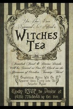 Witches Tea Invitation Love this idea of a witches tea around Halloween. Witches Tea Invitation Love this idea of a witches tea around Halloween. Halloween Labels, Theme Halloween, Halloween Invitations, Holidays Halloween, Vintage Halloween, Halloween Crafts, Happy Halloween, Halloween Witches, Vintage Witch