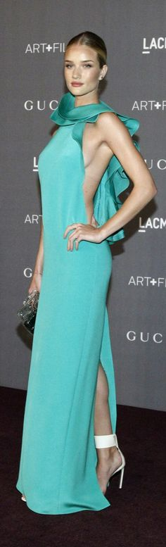 Gucci Turquoise dress with plunging sides and satin ruffled collar....Rosie Huntington