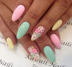 This beautiful bright pastel nail art design with the tiny, colorful flowers reminds us of pretty easter eggs, and it's the perfect manicure for a cute Best Acrylic Nails, Acrylic Nail Designs, Nail Art Flowers Designs, Nail Art Designs, Stylish Nails, Trendy Nails, Swag Nails, Fun Nails, Pastel Nail Art