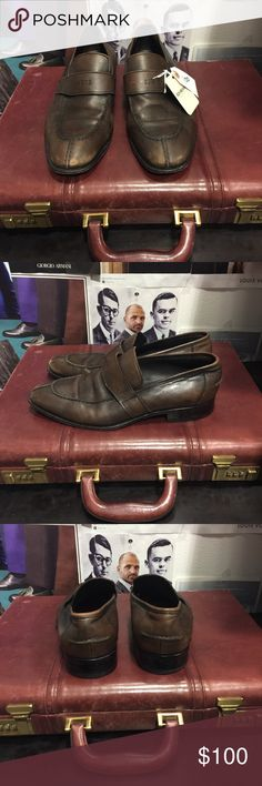 Hugo Boss Men's Brown Leather Penny Loafers 8.5 Excellent Preowned condition! - Rich Mbariket, upscale men's shop in Las Vegas Hugo Boss Shoes Loafers & Slip-Ons