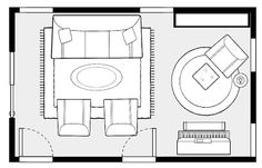 Layout for an upright piano. Flip this layout horizontally for your living room (ie chair with ottoman in bay window)
