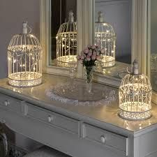 Shabby Chic Bird Cage with Warm White Wire Lights, 36cm