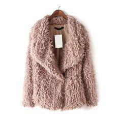 SheIn(sheinside) Pink Shawl Collar Faux Fur Coat ($32) ❤ liked on Polyvore featuring outerwear, coats, jackets, coats & jackets, fur, pink, long sleeve coat, fake fur coats, imitation fur coats and brown coat