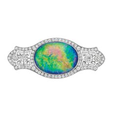 Edwardian Platinum, Black Opal and Diamond Brooch   The pierced plaque centering one oval opal approximately 13.25 cts., flanked by 4 old European-cut diamonds approximately .70 ct., within delicate filigree, set throughout with numerous small old European-cut diamonds, circa 1915, approximately 7 dwt.