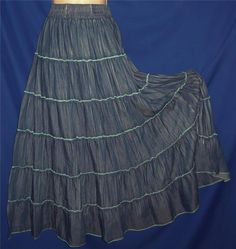 """Found in my Store:  http://stores.ebay.com/My-Evergreen-Closet Tiered Western Bohemian Hippie Boho Peasant Broomstick Skirt L-1X 32-38"""" Wst #SouthMain #PeasantBoho"""