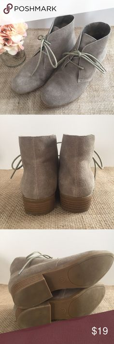 🌟MOSSIMO SUPPLY CO. Tan Suede Booties MOSSIMO SUPPLY tan/natural booties. Size 6.5M. Uppers in excellent condition. One heel shows expected wear (see pic 4). No other flaws to mention! Mossimo Supply Co Shoes Ankle Boots & Booties