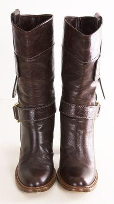 Chloe Stack Heel Brown Mid-Calf Boots