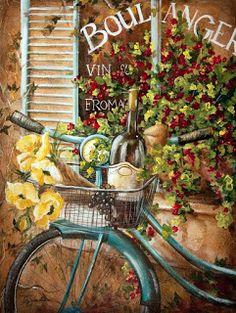 French Bicycle I <br/> Tre Sorelle Studios Decoupage Vintage, Decoupage Paper, Vintage Labels, Vintage Posters, Vintage Retro, Bicycle Art, Bicycle Painting, Wine Art, In Vino Veritas