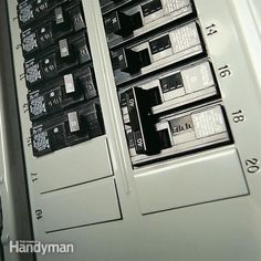 analyze your circuit breaker panel to see if you have amperage capacity and the physical space needed for a new 240-volt circuit or appliance. Home Electrical Wiring, Electrical Projects, Residential Electrical, Electrical Safety, Electrical Installation, Electrical Outlets, Electrical Engineering, Radios, Breaker Box