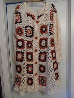 Crochet cuadrado de la abuelita en para mujer boho hippie chaqueta de abrigo  chaqueta de punto marrón chocolate bizcocho de marfil L   XL OOAK 55a04a1048d4