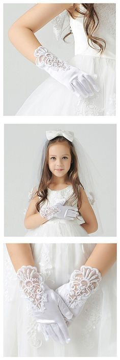 Tandi Girls Gorgeous Satin Fancy Stretch Dress Formal Pageant Party Gloves (Large, White Embroidered)
