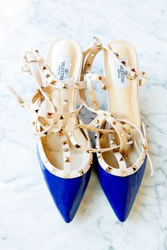Chic something blue with Valentino Rockstud pumps | Photography: Rima Brindamour - www.rimabrindamour.com  Read More: http://www.stylemepretty.com/2015/06/09/industrial-brooklyn-winery-wedding/