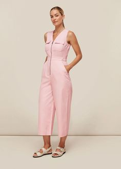 Buy Pink Nettie Utility Jumpsuit from whistles.com. Free UK Shipping & Returns. Made from a cotton in soft pink, this jumpsuit has a utility feel, with front pockets and a zip fastening.
