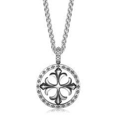 Sterling Silver Fleur De Lis Cross Style Round Men's Pendant
