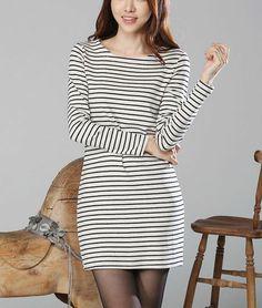 High Waist Cotton Striped Dress