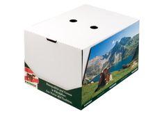 #Käsekarton • #Regalkarton mit Trennsteg für verschiedene Käsesorten. • #Blitzboden mit anhängendem Gefache • #T4P, #Lebensmittelverpackungen, #Mopro