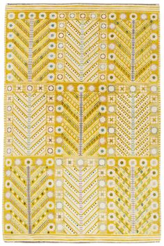 Wonderful lemon yellow Swedish carpet. Would be wonderful on a wooden floor in a southern facing bedroom.