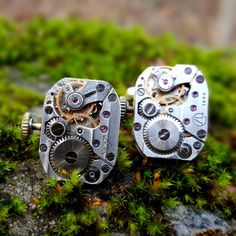 Steampunk Cuff Links Gold Clockwork Petite Ovals With Real Ruby Jewels