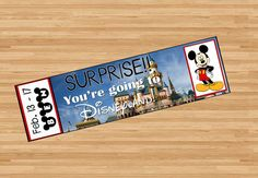 You're going to Disneyland! Printable Ticket to Disneyland Custom Name Dates Personalize Surprise Mickey Minnie Mouse DIY Digital File Kids Child Disney pdf announce