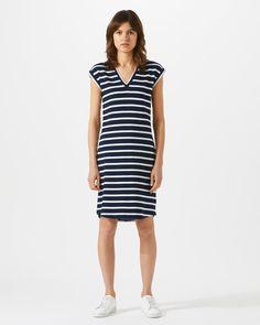 V-Neck Breton T-Shirt Dress