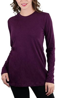 5bb78ac81 ToBeInStyle Women's Cotton-Blend Crew-Neck Staple Top with Long Sleeves at Amazon  Women's