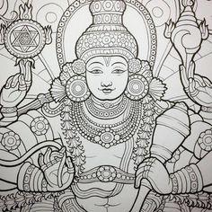 Vishnu, kerala mural style by Ekabhumi Kerala Mural Painting, Buddha Painting, Tanjore Painting, Krishna Painting, Indian Art Paintings, Canvas Paintings, Ganesha Art, Krishna Art, Art N Craft