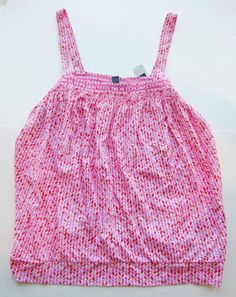 NWT Gap Women's Crochet Thick Strap Sleeveless Bubble Top Bright Pink Print Sz L #GAP #KnitTop #Casual