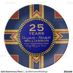 25th Anniversary Plate | Red+Gold+Blue
