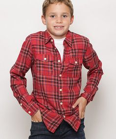 Country Red Plaid Button-Up - Toddler & Boys #zulily #zulilyfinds