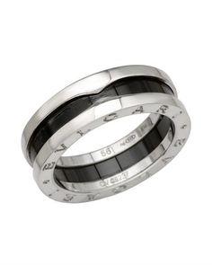 bvlgari lu bzero1 18k white gold carbon coated steel ring