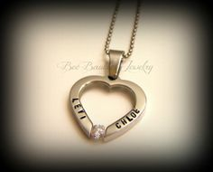 Hand Stamped Heart with Crystal Necklace - Heart jewelry - Personalized Jewelry - Hand Stamped Stainless Steel