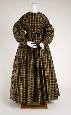 Morning dress Date: ca. 1836 Culture: American Medium: silk Dimensions: Length at CB: 55 1/2 in. (141 cm)