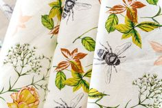 Flora and Fauna, bees, birds linen. Sold by the metre. Rachel Reynolds, Pattern Matching, Flora And Fauna, Bees, Giclee Print, How To Draw Hands, Fabrics, Butterfly, Wallpapers