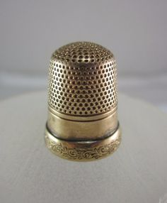 The thimble is constructed of 10K Yellow Gold marked Lucy 8. In fair used condition. There is a mark inside the thimble from where it was tested, a small dent the size of a pen tip, & could use a cleaning. | eBay!