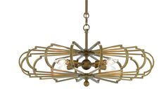 """BASCOM CHANDLIER, BRASS"""" NEW #9000-017525.5RD X 12.5H ADJUSTABLE FROM 16.5 TO 62H"""